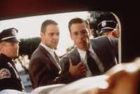 "Detectives Bud White, center left, played by Russell Crowe, and Ed Exley, played by Guy Pearce, appear the crime thriller ""L.A. Confidential.''"