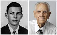 Bill Nolen in his 1943 senior class picture and today.