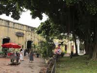 Las Bovedas at the French Plaza, Casco Viejo. The old dungeons that served as prisons have been turned into restaurants and art galleries. Panama City.