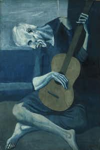 """""""The Old Guitarist"""" (1902-04) is from Picasso's Blue Period."""