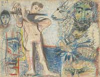 Picasso used colored crayons and pencils on cream paper for Man Holding a Sheep, Flutist, and Heads (1967)