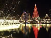 Several million lights create more than 100 holiday scenes and cover trees and buildings at the Chickasha, OK, Festival of Light.
