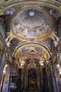 At tiny Trenèín in northwest Slovakia, the church of St. Francis Xavier offers  spectacular evidence of past wealth, including a masterful trompe l'oiel dome.