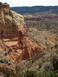 The three mile Chimney Rock Trail located at Ghost Ranch in New Mexico is one of the more popular day hikes in the area. Photograph taken June 5, 2012.
