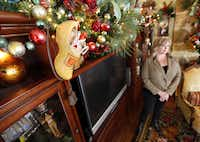 Sheri Geisler of Double Oak incorporated her wooden shoe collection into the Christmas decorations this year.