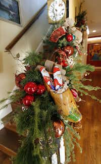 The largest wooden shoe in her collection was once part of a cheese display. The shoes all are filled with chocolates from Germany, in keeping with the European tradition of St. Nicholas' feast day.