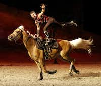 A trick rider performs during a preview of Cavalia's production Odysseo in Frisco, Texas on Jan. 27, 2015.(Rose Baca - The Dallas Morning News)