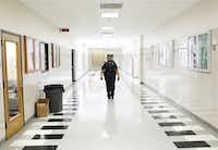 Richardson Police Officer and School Resource Officer La'Evening Woodard patrols the halls of Berkner High School in Richardson.