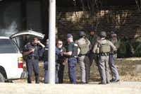 Police activity on Fall Manor Drive on Saturday after a shooting at Regency Springs Apartments in North Dallas.(Kye R. Lee - Staff Photographer)