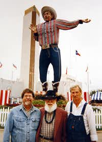 From left: Jer Giles posed with Jack Bridges, the original sculptor of Big Tex, and Bridges' friend Rick Ailers during a State Fair visit.