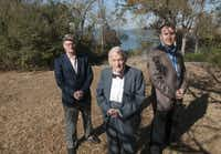 Peter B. Stewart (front), one of the founders of Dallas' Thanks-Giving Square, his son Peter Stewart (left) and Jimmy Archie of Realty Capital Management support the transformation of the land into a pedestrian-oriented development.