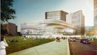 A downtown Dallas developer envisions an eight-level parking structure that would be covered with a massive media screen. The parking garage would span Pacific Avenue.(HKS Architects)