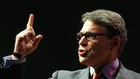 Former Gov. Rick Perry speaks at an Iowa Faith & Freedom event in Waukee, Iowa, April 25. (AP Photo/Nati Harnik)