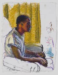 Sedrick Huckaby, Mr. Phoenix's Son, 2012, oil pastel on paper, 12 1/8 x 9 3/8 inches, courtesy of Valley House Gallery & Sculpture Garden