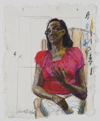 Sedrick Huckaby, Mr. Phoenix's Wife, 2012, oil pastel on paper, 11 7/8 x 9 3/4 inches, courtesy of Valley House Gallery & Sculpture Garden