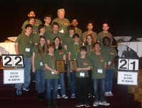 Students from the seventh- and eighth-grade pentathlon teams gather for a photo after winning the Super Quiz Relay at the Academic Pentathlon competition May 23-24 in Omaha, Neb.Photo submitted by JANICE BORLAN