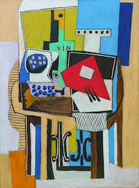 "Pablo Picasso, ""Compotieŗ, bouteille et guitare,"" oil on canvas.Collection of Nancy Lee and Perry Bass"
