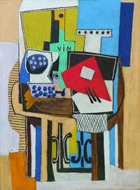 """Pablo Picasso, """"Compotieŗ, bouteille et guitare,"""" oil on canvas.Collection of Nancy Lee and Perry Bass"""