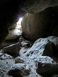 Two talus caves in Pinnacles National Park require a flashlight for navigation. In them reside small Townsend's big-eared bats, an endangered species.