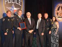 Award recipients at the 18th Annual Irving Police Banquet pose with Chief Larry Boyd and Interim City Manager Steve McCullough.Photo submitted by IRVING POLICE DEPARTMENT