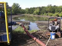 Pumps pulled water from a pond in the Great Trinity Forest until a city inspector halted the draining. The free water was used to control dust during work on a golf course.(Roy Appleton -  Staff )