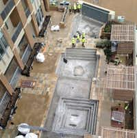 Construction on the seventh-floor swimming pool is being finished. (Steve Brown/Staff)