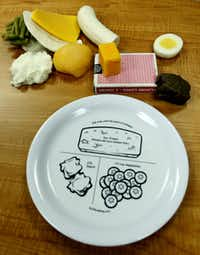 A salad plate is used to demonstrate proper serving sizes at the Weight Management Institute of the Methodist Health System. The deck of cards is used to estimate 3 ounces of protein.