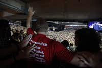 """Thousands fill seats and the floor area of Reliant Stadium during """"The Response"""" at Reliant Stadium."""