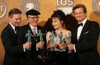 """The cast of """"The King's Speech"""" poses with the award for Best Motion Picture Cast in the press room at the 17th Annual Screen Actors Guild Awards on Jan. 30, 2011 in Las Angeles."""