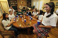 Kendall Castillo (right) attended Renner Middle School last year and now attends Ursuline Academy of Dallas. All of her peers gathered here in a west Plano home also were Plano ISD students who now attend private school. Sixty-two percent of kids who live in Plano attend its public schools.