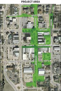 The $8.6 million capital improvement project will offer better access for pedestrians along San Jacinto Street, from Olive Street down to City Hall, just south of Houston Street.(Map courtesy of THE CITY OF ROCKWALL)