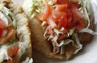 Puffy tacos at Los Barrios Mexican Restaurant, at 4223 Blanco Road, San Antonio