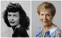 Jo Ratekin Spalti in her 1943 senior class picture and today.