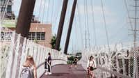 This is the view looking north on the bridge in an artist's rendition of the pedestrian suspension bridge that will go over Mockingbird Lane in Dallas.(courtesy photo)