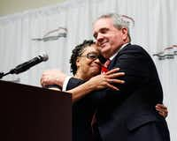 Garland ISD school board President Linda Griffin was a newcomer in 1999 when Curtis Culwell became superintendent. She bid him farewell at his retirement celebration Wednesday.