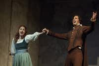 "Laura Claycomb, as Gilda, and James Valenti ,as The Duke, perform in ""Rigoletto."""