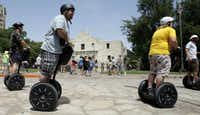 Guided Segway-powered tours are one way for visitors to view the Alamo and other key sights in San Antonio.