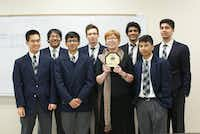 The Uplift North Hills Prepatory robotics team includes, left to right: Victor Yip, Zanir Habib, Ojaswi Ghimire, Alex White, Bojana Radja, Adhitya Jayasinghe, Abhilash Bajracharya, and Kunz Mainali. Sahil Khoja, Revanth Vedula, and Liam Stenson are not pictured.(Kunz Mainali - Contributor)