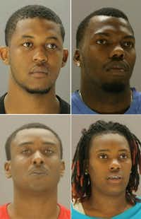 The suspects, all from Houston, were identified as (clockwise from top left) Ray Hicks, 21, Fernando Taylor, 28, Chrisheena Milburn, 25, and Brandon Mallet, 29. (Dallas County Jail)