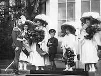 """The Imperial Family on duty at the Catherine Palace, Tsarskoe Selo, circa 1911. From """"The Romanov Sisters,"""" by Helen Rappaport(Scherl -  Sueddeutsche Zeitung Photo )"""