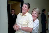 President Reagan and Nancy Reagan together in Bethesda Naval Hospital in September 1985.( Courtesy Ronald Reagan Library )