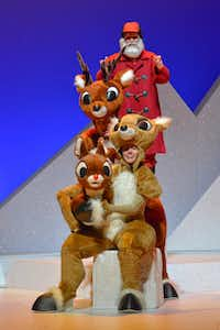 "Bottom to Top: Emily Ford, Jonathan Bragg, Doug LoPachin in ""Rudolph the Red Nosed Reindeer"""