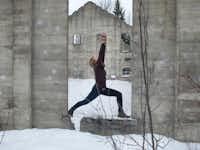 Fernie Alpine Resort's winter yoga advocates walking yoga.( Cheryl Sherry  - Courtesy Cheryl Sherry)