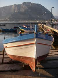 Row boats in Mondello, a province of Palermo, in Sicily, Italy.