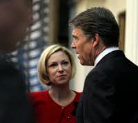 Rep. Sarah Davis, R-West University Place, is pictured here talking to former Gov. Rick Perry during the 2013 session. (The Dallas Morning News)
