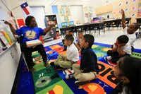 First-grade teacher Tiffany Hardy asked questions of her class at Thelma Elizabeth Page Richardson Elementary.