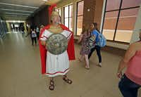 History teacher Jeff James takes the Roman road at McMillen High in Murphy.