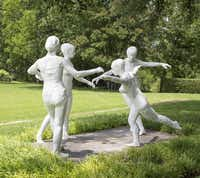 """George Segal, """"The Dancers,"""" 1971-1982. White painted bronze.Collection of Nancy Lee and Perry Bass"""