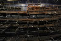 Part of the hull of the Tudor warship Mary Rose is on display at the Mary Rose Museum in Portsmouth, Hampshire, southern England. The relics from the Mary Rose, the flagship of England's navy when it sank in 1545 as a heartbroken king Henry VIII watched from the shore, have been reunited with the wreck in a museum offering a view of life in Tudor times.