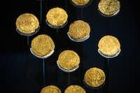 Gold coins found with the wreck of the Tudor warship Mary Rose are on display at the Mary Rose Museum in Portsmouth, Hampshire, southern England. Skeletons, longbows, tankards, gold coins and even nit combs are going on display alongside the remains of the pride of Henry's fleet.